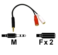 AV kábel 3.5mm Male to 2-3.5mm Female Audio